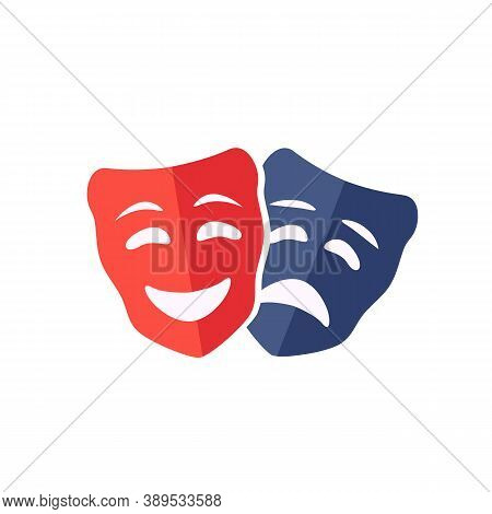 Theatrical Masks Isolated On White Background. Comedy And Tragedy Mask Concept Icon. Vector Stock