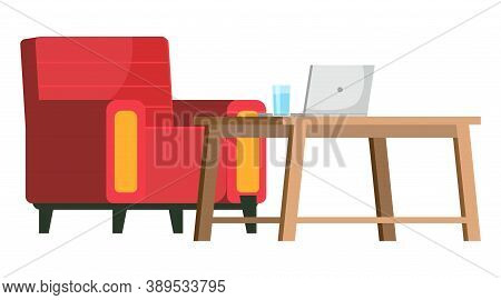 Workplace In Office. Cabinet With Creative Workspace. Furniture And Equipment For The Workplace Of A