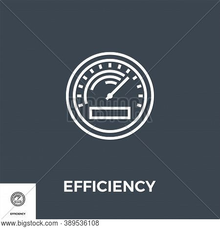 Efficiency Related Vector Thin Line Icon. Isolated On Black Background. Vector Illustration.