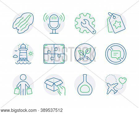 Line Icons Set. Included Icon As Pecan Nut, Customisation, Lighthouse Signs. Puzzle, Cognac Bottle,