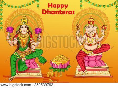 Vector Design Of Goddess Lakshmi And Lord Ganesha For Happy Diwali Prayer Festival Of India In India