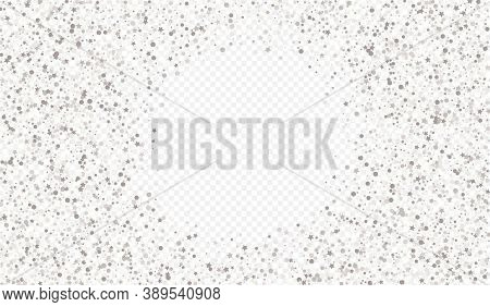 White Splash Rich Transparent Background. Glamour Round Banner. Silver Circle Bright Texture. Confet