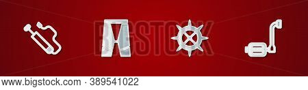 Set Bicycle Air Pump, Cycling Shorts, Sprocket Crank And Pedal Icon. Vector