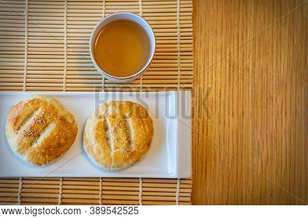Popular Chinese Pastry Sweetheart Cake Or Wife Cake Is A Traditional Hong Kong Cantonese Pie With Th