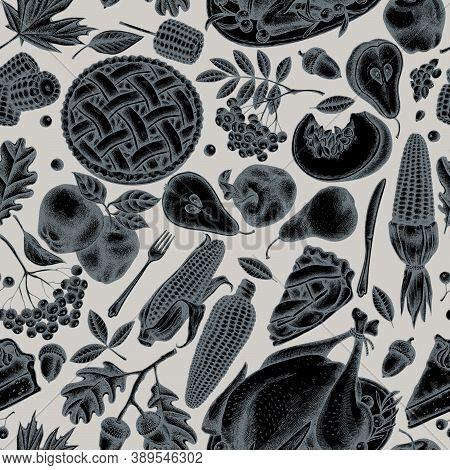 Seamless Pattern With Hand Drawn Stylized Pumpkin, Fork, Knife, Pears, Turkey, Pumpkin Pie, Apple Pi