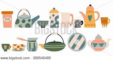 Tea Utensil Set. Hand Drawn Textured Colorful Kitchen Cartoon Ceramic Breakfast Tableware, Cute Teap