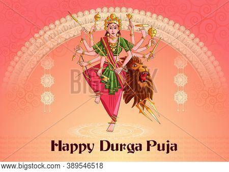 Vector Design Of Indian Goddess Durga Sculpture For Durga Puja Holiday Festival Of India In Dussehra
