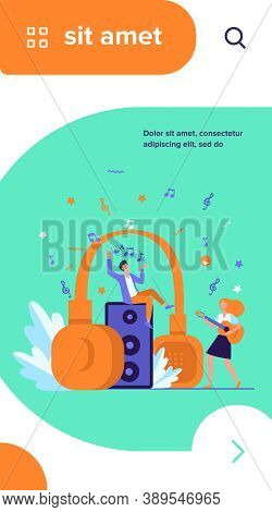 Happy Tiny People Listening Spiritual Music Near Huge Headphones Flat Vector Illustration. Young Guy