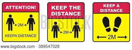 Covid 19 Floor Sticker Of Footprint Sign With Text Keep Your Distance, 3 Different Social Distancing