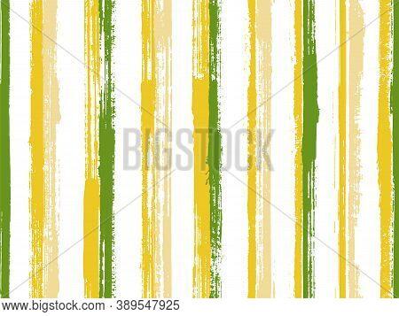 Watercolor Freehand Rough Stripes Vector Seamless Pattern. Minimal Tartan Plaid Print Design. Old St