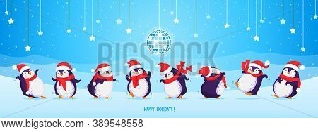 Bundle Of Cute Dancing Penguins In Christmas Hats And Red Scarves. Festive Background With Disco Bal