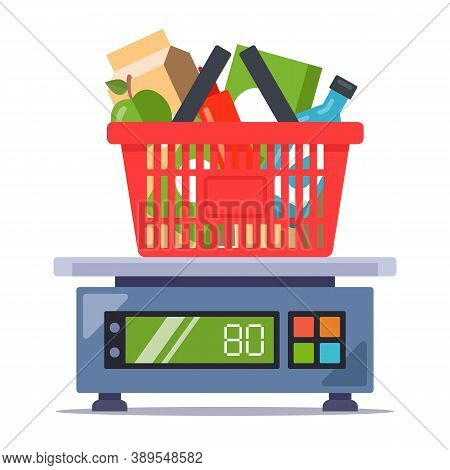 Weigh Products From The Store On The Scales. Food Set. Flat Vector Illustration Isolated On White Ba