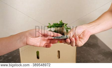 Delivery Man Bring Fresh Food To Customers Home And Recipient Gives Dollar Banknote Closeup. Online
