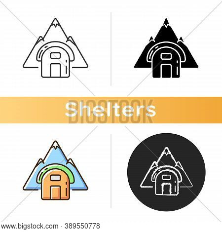 Bivouac Shelter Icon. Improvised Camp Site. Backpacking. Scouting. Temporary Tent. Encampment. Bivy