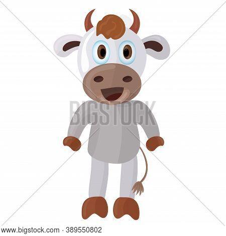 Simple Calf In Cartoon Style. Cheerful Vector Illustration. Domestic Animals.