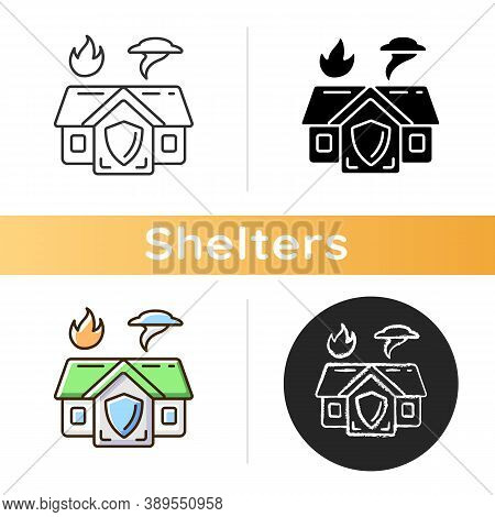 Emergency Shelter Icon. Temporary Residence. Natural Disasters. Domestic Violence. Warming Center. E