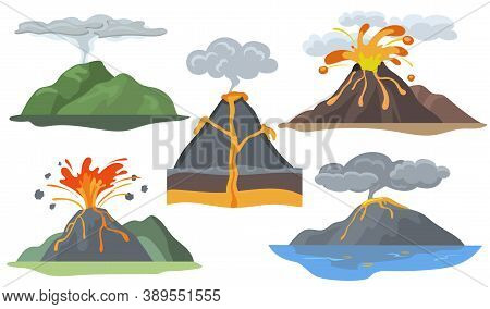 Exploding Volcanoes Set. Landscape With Magma Eruption, Lava, Fire, Smoke And Ash. Vector Illustrati