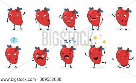 Cute Heart Set. Human Organ With Face And Different Emotions, Happy, Sad, Angry, Sick And Healthy Ca