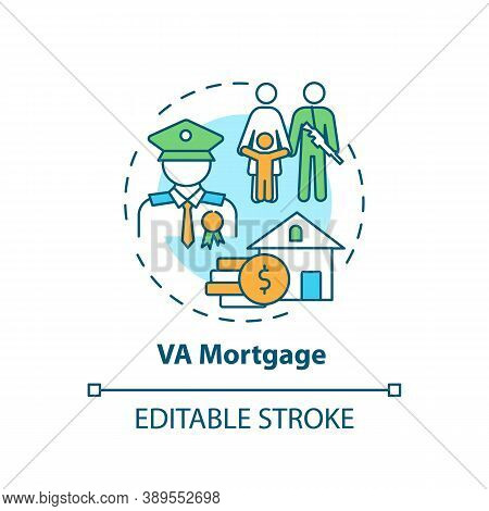 Va Mortgage Concept Icon. Veterans Affairs Type Idea Thin Line Illustration. Direct Home Loan. Mortg