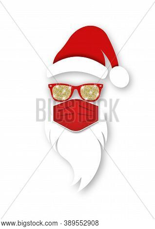 Santa Claus Head Label Wears Surgical Mask, Red Hat And White Beard With Glitter Sunglasses. Paper C