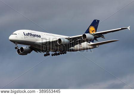 Frankfurt / Germany - December 4, 2012: Lufthansa Airbus A380 D-aimi Passenger Plane Landing At Fran