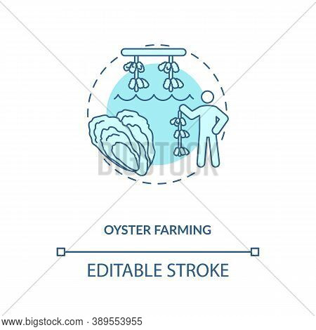 Oyster Farming Concept Icon. Luxury Seafoods Growing. Healthy Organic Foods. Shellfishes Picking. Aq