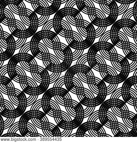Design Seamless Waving Pattern. Abstract Monochrome Zigzag Background. Vector Art