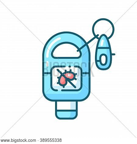 Keyring Sanitizer Blue Rgb Color Icon. Keychain Holder For Tube With Liquid Soap. Pocket Wash For Ha