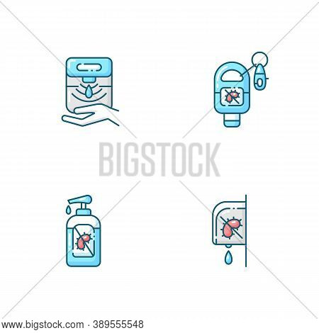 Hygienic Hand Sanitizers Blue Rgb Color Icons Set. Automatic Dispenser For Antibacterial Liquid Soap