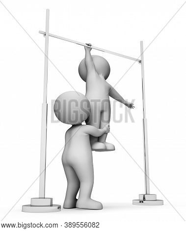 High Bar Representing Get Fit And Train 3d Rendering