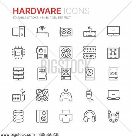 Collection Of Hardware Related Line Icons. 48x48 Pixel Perfect. Editable Stroke