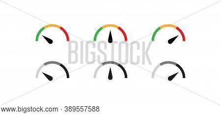 Speedometer Color Icon Set. Gauge Simple Symbol. Level Speed Concept In Vector Flat