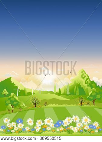 Spring Landscape,view Of Spring Village, Green Meadow On Hills With Blue Sky, Vector Cartoon Spring