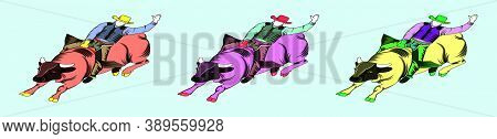 Set Of Rodeo Cowboy Riding A Wild Bull Cartoon Icon Design Template With Various Models. Vector Illu