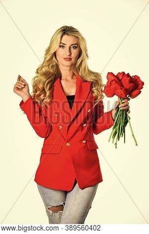 Red Tulips Bouquet. Happy Womens Day. Girl Confident Business Lady Formal Red Jacket. Gorgeous And S