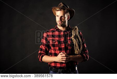 Lasso Used Rodeos Competitive Events. Man Wearing Hat Hold Rope. Lasso Tool Of American Cowboy. Lass
