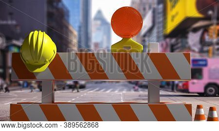 Street Construction Barriers Downtown, City Center Background. 3D Illustration