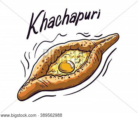 Natural Khachapuri. Delicious And Mouth-watering Confectionery. Color Vector Illustration
