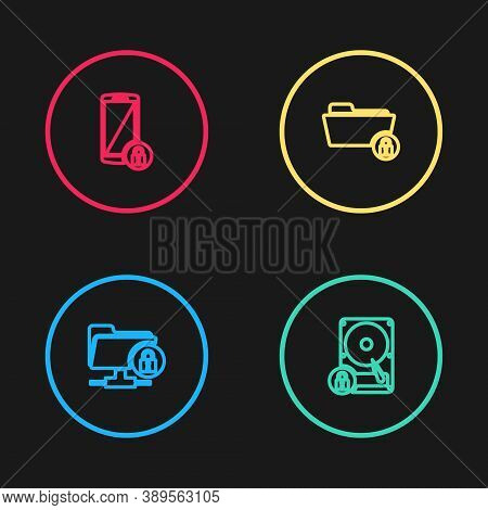 Set Line Ftp Folder And Lock, Hard Disk Drive, Folder And Smartphone With Icon. Vector