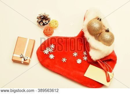 Contents Of Christmas Stocking. Christmas Celebration. Christmas Sock White Background Top View. Fil