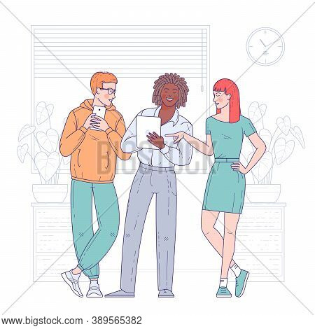 Multi Ethnic Group Of Young People, Cheerful Male And Female Employees Or Colleagues Together Solvin
