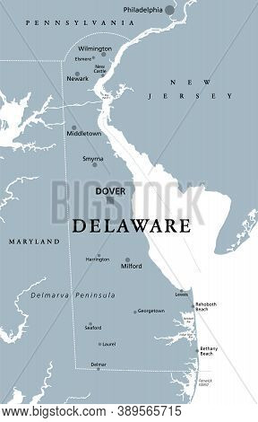 Delaware, De, Gray Political Map. State In Mid-atlantic Region Of United States Of America. Capital
