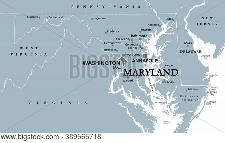 Maryland, Md, Gray Political Map. State In Mid-atlantic Region Of United States Of America. Capital