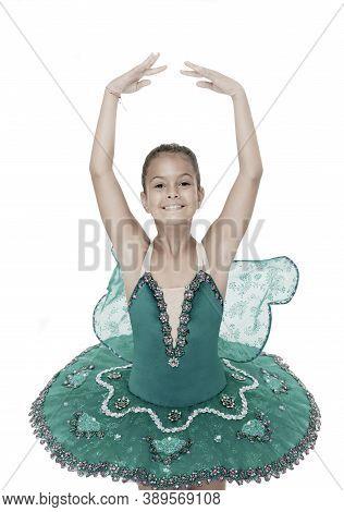 Small Ballerina. Talented Ballet Dancer. Kid Dress Ballet Skirt White Background Isolated. Child Pra