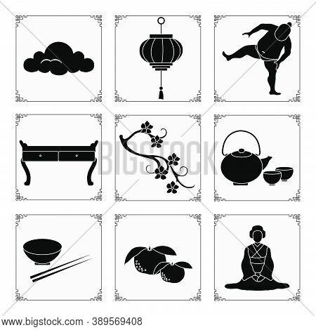 Symbols Of Japanese Culture. Japanese Woman In Kimono, Tangerines, Bowl, Chopsticks, Teapot, Cups, S