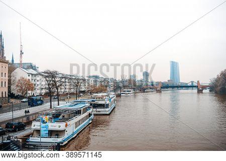 Frankfurt, Germany - January 22, 2019: River view of Frankfurt am Main, Germany
