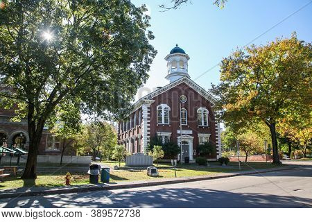 WOODSTOCK, VT, USA - OCTOBER 9, 2020: Windsor County Court house near Central Street with morning autumn lights