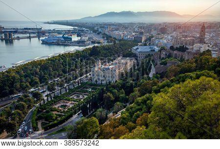 MALAGA, SPAIN - SEP 22, 2020: Malaga, Spain. Cityscape Topped View Of Malaga