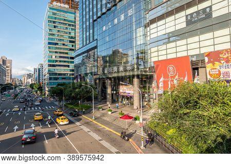 Taipei, Taiwan - Oct 1st, 2020: cityscape skyscraper under blue sky, Q Square at Taipei City Hall Bus Station, Taipei, Taiwan