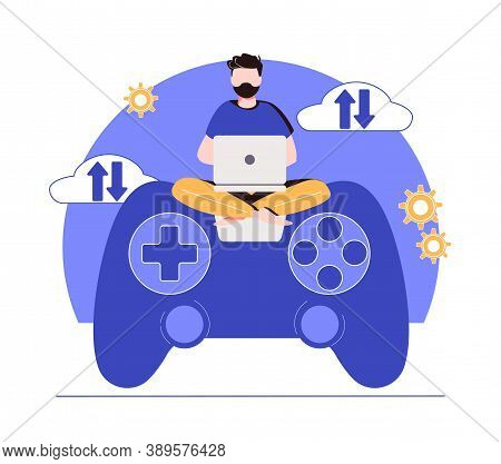 Cloud Gaming. Gaming On Demand, Video And File Streaming, Cloud Technology, Various Devices Game, On